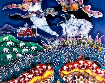 Sheep in Moonlight While All Sleep - Farm art  -  original batik painting
