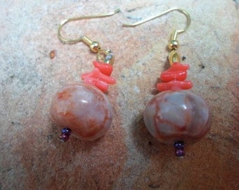 Lovely Handmade Earrings of Red Line Marble Beads with Coral