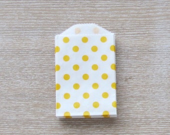 25 Yellow Polka dot Treat  Bags, wedding favor bags, party treat bags, polka dot favor bags, yellow favors