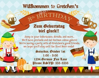 Personalized German Oktoberfest Invitation for Kids or Family Festival DIY