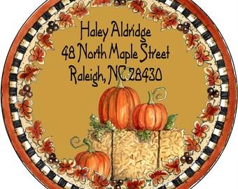 Autumn Fall Return Address Labels Pumpkin Return Address Labels Personalized Return Address Round Address Labels Custom Address Labels Owl