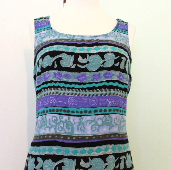 Purple and Teal Printed Summer Dress
