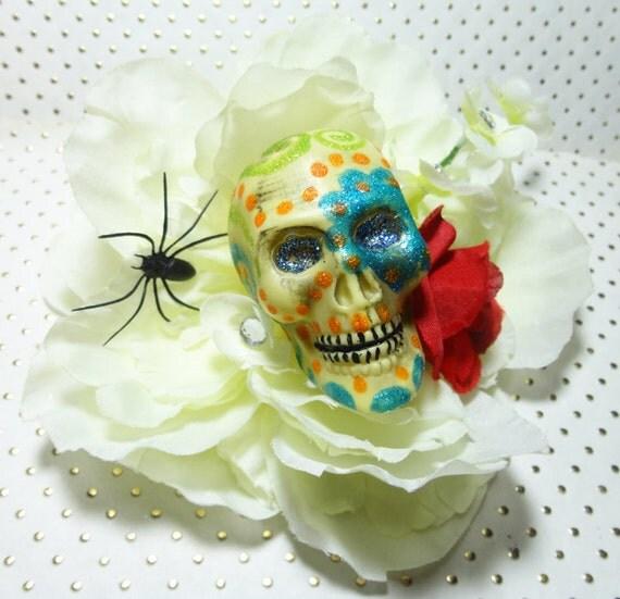 Day of the Dead Handpainted Skull White Rose Clip