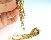 Miriam Haskell Earrings Baroque Pearl 1960s Vintage Long Dangles Russian Gold Screw Clips