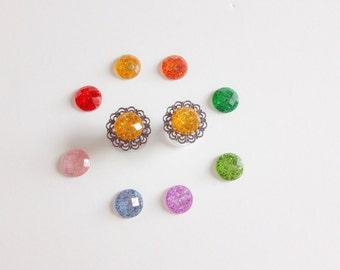 Pair Glitter Plugs 0g, 2g, 4g, 6g Ear Plugs Body Jewelry Gauged Earrings 8mm Prom Plugs Custom Plugs Wood/Steel/Acrylic Tunnels