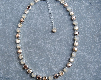 Rose Gold Opal Champagne Necklace Swarovski Crystal Neutral Tennis Necklace Beige Bridesmaid Necklace Mashugana