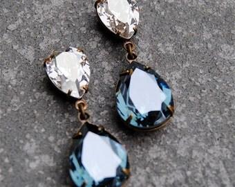 Silver Diamond Denim Blue Earrings Swarovski Crystal Pear Earrings Tear Drop Post Dangle or Clip on Rhinestone Earrings Duchess Mashugana