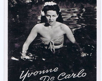 Vintage Retro Photograph Postcard of Yvonne De Carlo Motion Picture Television Actress Star The Munsters