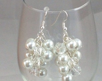 white pearls and clear crystals in this bridal chunky pearl earrings