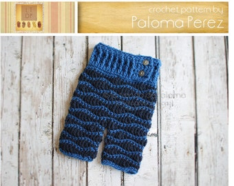 INSTANT DOWNLOAD - Crochet Baby Pants Pattern - Crochet Waves Pants - Crochet Pants - Crochet Pattern