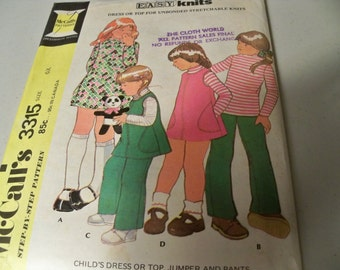 1972 McCalls 3315 Size 6X Girls Dress or Top Jumper Pants for Unbonded Stretchable Knits Step-By-Step Pattern Sewing Pattern Supply ff