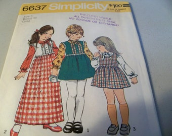 1974 Simplicity 6637 Size 5 Girl's Jumper Two Lengths Blouse Sewing Pattern Supply Girls Jumper Pattern Girls Blouse Pattern Girls Dress FF