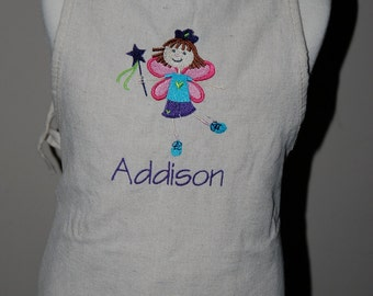 Personalized, Embroidered Kids Apron - Kid Fairy