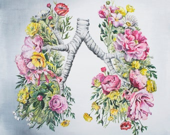Floral Anatomy: Lungs Print of Oil Painting - Anatomical Art Print - Human Body - Medical Art