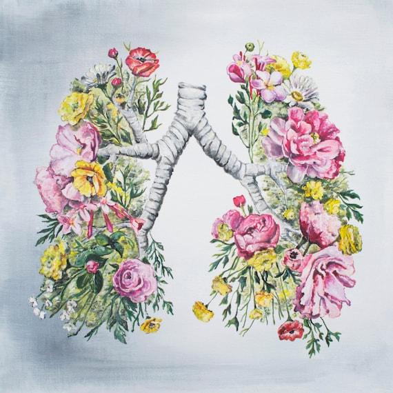 Anatomie florale: Poumons impression de peinture à l'huile - anatomiques Art Print - corps humain - Art médical