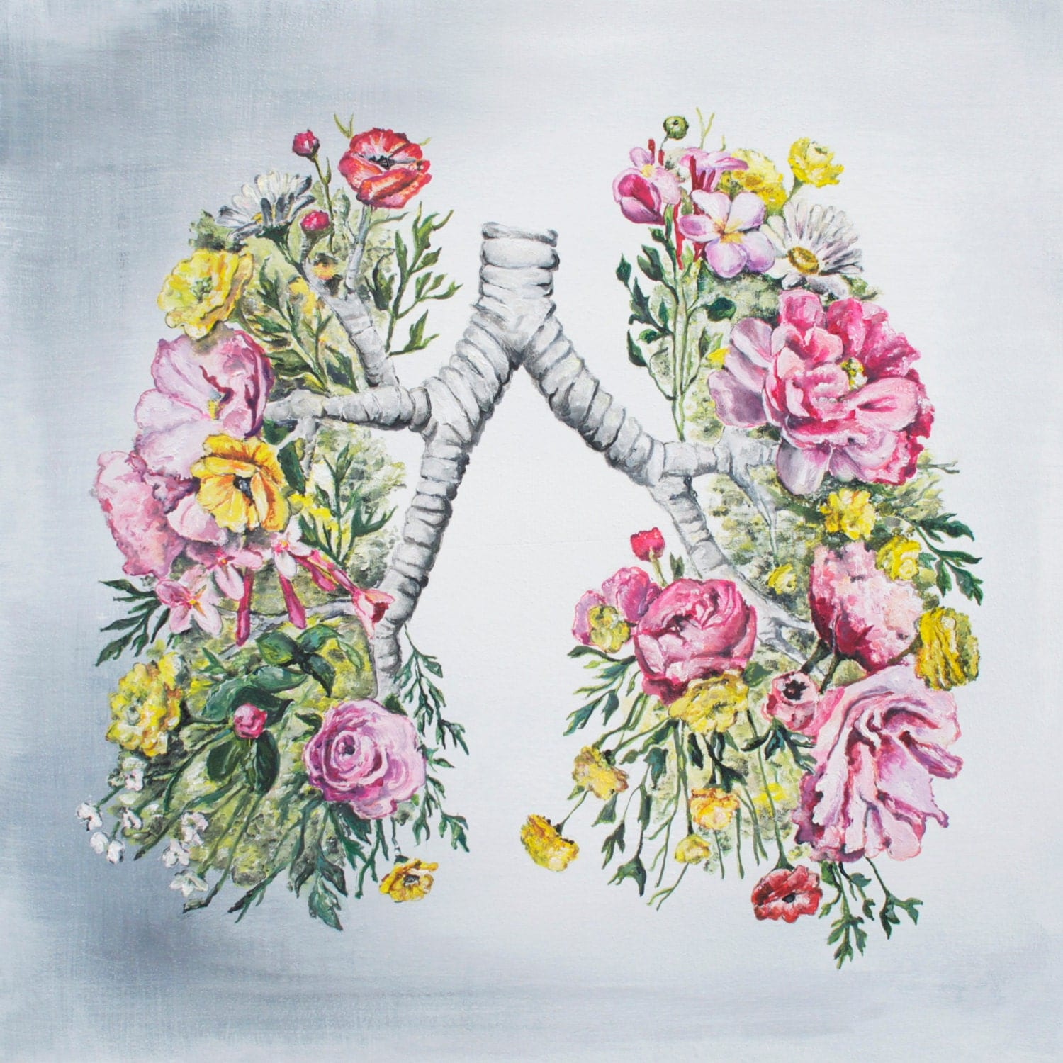 Floral Anatomy: Lungs Print of Oil Painting Anatomical Art  Floral Anatomy:...