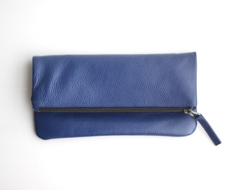 Blue Leather Foldover Clutch. Leather Purse. Leather Clutch Purse. Leather Bridal Bridesmaid Evening Clutch Bag. Wedding Clutch. Wedding Bag