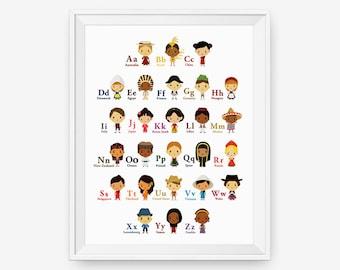 Alphabet A-Z Children Of The World With Their National Costume Wall Art Poster, Nursery Art, Children Room Decor, Classroom Decor