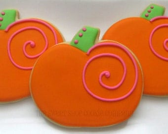Whimsical Pumpkin cookies 2 dozen
