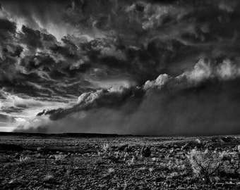 Fine art Black and white print of a supercell thunderstorm in TX