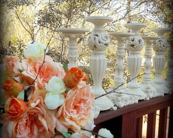 "11 ""Satin Ivory/Antique White Candle Holders""-Venetian Decor,White Centerpiece,Shabby Chic,Shabby Rococo,Enchanted Wedding,Ivory Decor,Event"