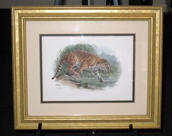 "1988 Signed DON BALKE ""TIGER"" Vintage Fine Art Lithograph Print In Gold Wooden Frame / Great Condition / 12 3/4"" X 15 1/8"" Total"