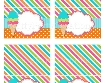 BRIGHT ICE CREAM editable tent cards - Instant Download