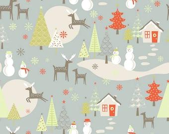 Fabric 1 Yard Merry Little Christmas Winter Wonderland Grey Deer Snow Trees Riley Blake c3370 grey Quilting Sewing Holiday Winter
