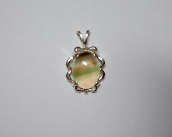 Oval cabochon Banded Fluorite Pendant