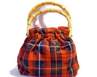 Vintage Handbag / Fabric Handbag / Plaid Tartan / Reversible Handbag With Bamboo Handles