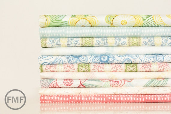 Fat Quarter Bundle Sweet Life, 10 Pieces, Cori Dantini, Blend Fabrics, 100% Cotton Fabric, 112.102