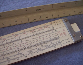 Vintage ruler set mechanical slide ruler circa 1960