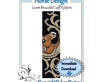 Bead Pattern Loom(Bracelet Cuff)-Horse Design