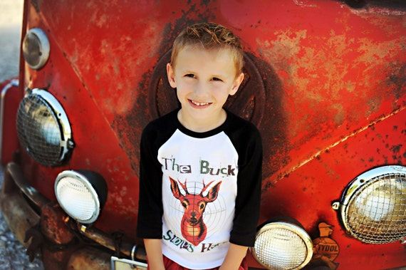 "Raglan [baseball style tee] Childrens Raglan Shirt ""The buck stops here"""