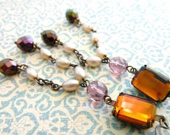 Topaz Earrings, Lavender Pearl Earrings, Bohemian, Long Chandelier Earrings, Amethyst, Amber, Statement, Retro Earrings, Art Deco Earrings
