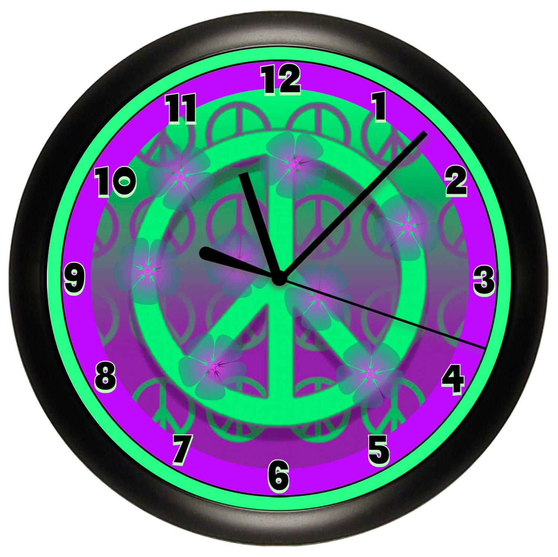 Wall Art Greenpeace : Purple and green peace sign wall clock