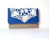 Cobalt Blue Fold Over Clutch - Linen and Lace Foldover Bag - Vintage Lace Doily Purse