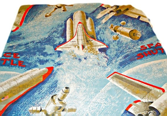 Vintage space shuttle fabric material retro 1980 39 s rocket for Space fabric material