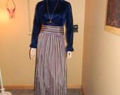Blue Velveteen Dress.Stripped Skirt .Wide Belt. MIA Farrow style.Crushed style velvet skirt. Fall /Winter Wedding.Cocktail partiy Gown.RARE