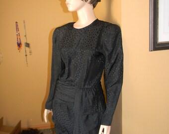 1980s FILM NOIR Neiman Marcus .1940S Style dress. Couture. Peplum waist .SILK Wiggle wonder! Lauren Bacall Beauty!