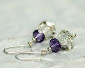 Small Crystal Earrings, Bridal Earrings, Short Swarovski Earrings Bridal Earrings Faceted Crystal Earrings, Autumn Wedding Swarovski Jewelry