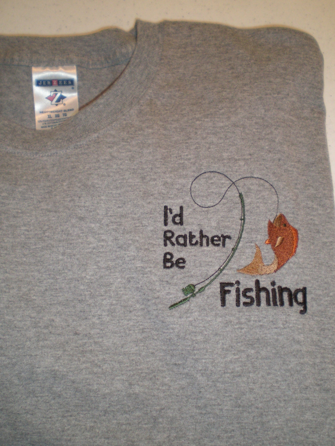Father 39 s day i 39 d rather be fishing embroidered for Rather be fishing