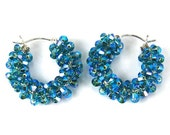 Electric Blue Swarovski Hoop Earrings, Blue Zircon Swarovski Sterling Silver Hoops,  December Birthstone for Good Luck and Protection.