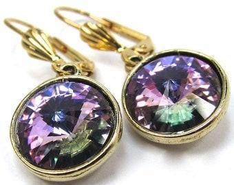 Earrings of Light Amethyst Swarovski Crystals