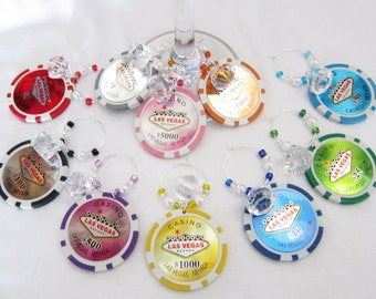 Girls night out -- Las Vegas clay POKER CHIP Wine Charms Diamonds and Pearls -- One set of 10 wine charms