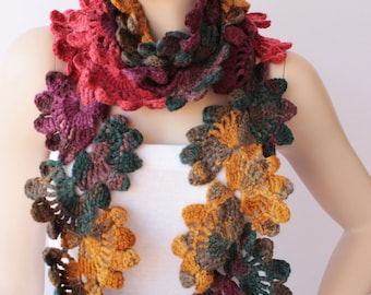 Crochet  long woman scarf, gift idea