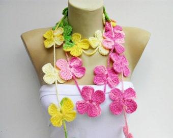crochet lariat ,flower  crochet  lariat scarf