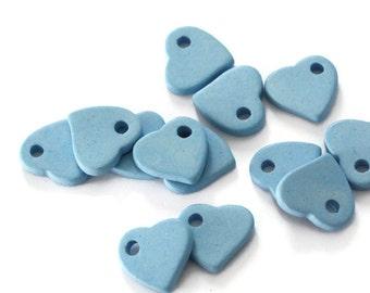 Light Blue Ceramic Heart Beads, Large Light Blue Heart Ceramic Pendants C 10 060