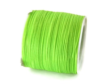 Neon Green Waxed Polyester Cord, Neon Green Nylon Bead Cord, Macrame Cord,  Bracelet Cord (0.8mm) 10m - 11yards S 40 007
