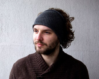 Knitted Mens Headband Guys knit hair wrap - Dark Grey,Light Grey  Unisex Adults Dread band